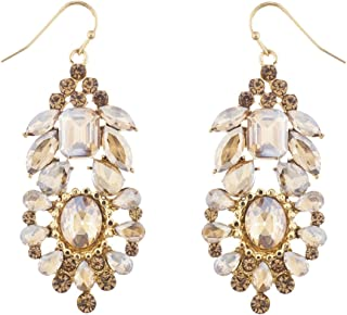 Lux Accessories Champagne Special Occasion Statement Chandelier Earrings