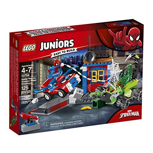 LEGO Juniors - Spider-Man VS Escorpión: Batalla Callejera, Juguete de Super Héroes con Coches para Crear y Construir, Incluye Minifiguras y Accesorios (10754)