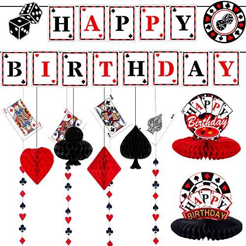 Set de 11 Decoraciones de Fiesta de Cumpleaños de Casino, Incluye Pancarta Happy Birthday de Póker, 6 Panal de Casino, 4 Remolino Colgante de Póker para Fiesta Cumpleaños de Tema de Póker Casino