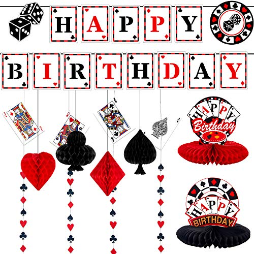 11 Pieces Casino Birthday Party Decorations Set, Includes Poker Happy Birthday Banner, 6 Casino Honeycomb, 4 Poker Card Hanging Swirls for Casino Poker Theme Birthday Party Supplies