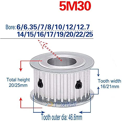 5mm Pitch 104 Teeth 520-5M-32 HTB Timing Belt520mm Length 32mm Width