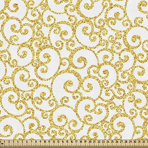 ABAKUHAUS Victoriano Tela por Metro, Líneas De Remolino Floral, Decorativa para Tapicería y Textiles del Hogar, 1M (148x100cm), Amarillo Y Negro
