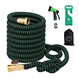 Greenbest Expanding/Expandable Garden Hose, Car Hose,Plastic Hose Hanger, 3/4Nozzel Solid Brass Connector,Double Latex Core,Extra Woven Strength Fabric Cover,Storage Sack,Spray Nozzle BG(100FT)