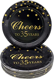 Pandecor 35th Birthday Party Supplies,50 PCS Disposable 7 Inch Paper Plates Dessert Plates for 35 Years Anniversary Party