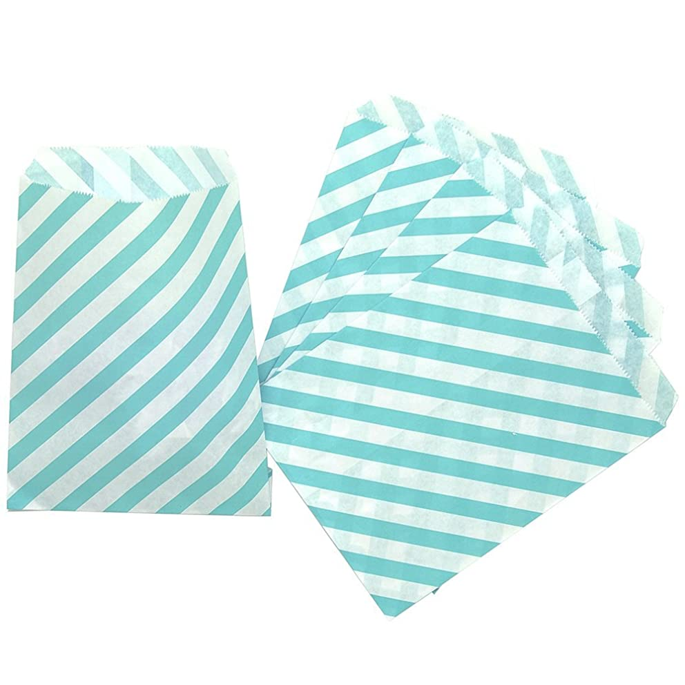 CTIGERS Cyan Striped Party Favor Paper Bags Treet Bag 5