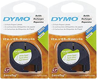 DYMO 10697 Self-Adhesive Paper Tape for LetraTag Label Makers, White (2 Pack of 2 Piece Each)