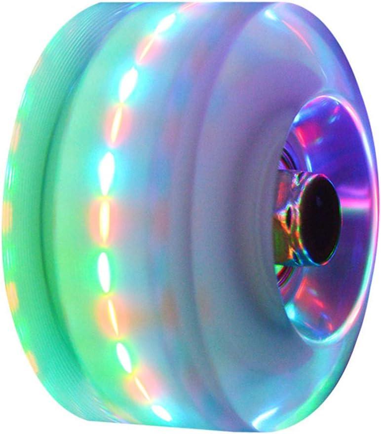 8PCs Roller Light Up Wheels,Luminous Skateboard Wheels Double Row Roller Skates Wheels with Bearings /& Wrench,LED Light Up PU Skateboard Core Roller Skate Wheels