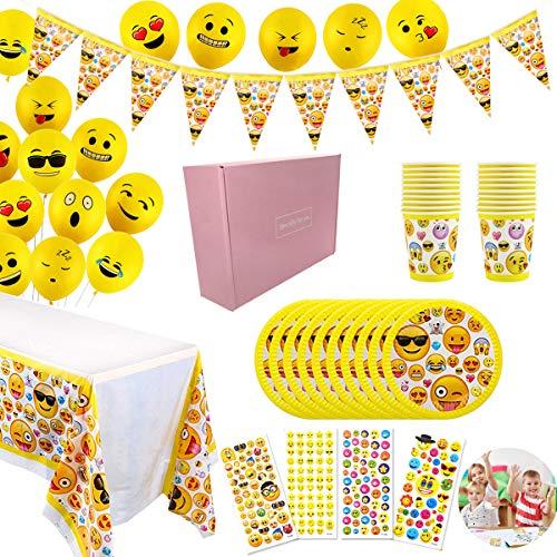 YuChiSX Emoji Emoticonos para Cumpleaños Vajilla Emoji Kit de Mesa Party Fiesta de Infantiles Cumpleaños Accesorios de Fiesta para Celebración – Articulo de Menaje para Eventos, Platos, Mantel