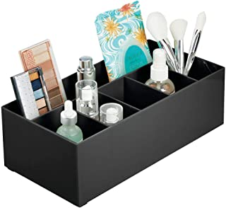 mDesign Plastic Cosmetic Organizer Storage Center with 6 Sections for Bathroom Countertops, Vanity - Hold Makeup Brushes, Lipstick, Lip Gloss, Concealers, Mascara, Palettes, Eye Pencils - Black