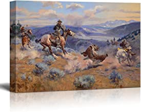 wall26 - Loops and Swift Horses are Surer Than Lead by Charles Marion Russell - Canvas Print Wall Art Famous Painting Reproduction - 12