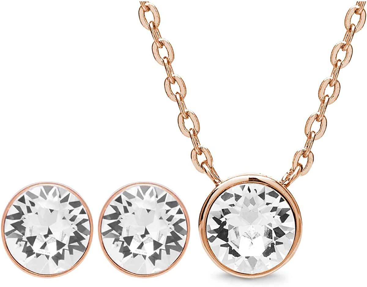 AURA 18K Rose Gold Plated Pendant Necklace and Crystal Stud Earring Jewelry Set Using Genuine Swarovski Crystals