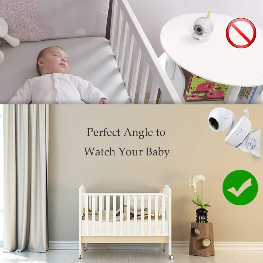 HelloBaby Perfect Angle and Easy to Install Samsung Babysense GUMBALL Adjustable Angle Baby Monitor Wall Mount for Motorola Baby Monitor Infant Optics DXR-8 and Most Universal Monitors Camera