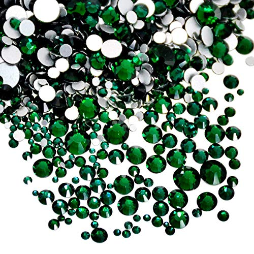 AD Beads 1440 Pieces Mixed Size No Hotfix Glue on Quality Glass Flatback Rhinestones Round Crystal Gems ( 11 Emerald )
