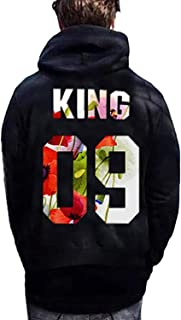 SED Women's Outfits Tops Casual King/Queen Letter Printed Hooded Sweatshirt Pullover Tops Winter Warm Clothing,King,UK M/Cn M
