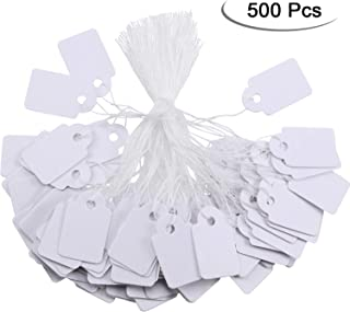White Marking Tags Price Tags Price Labels Display Tags with Hanging String, 500 Pack (24 x 15 mm)