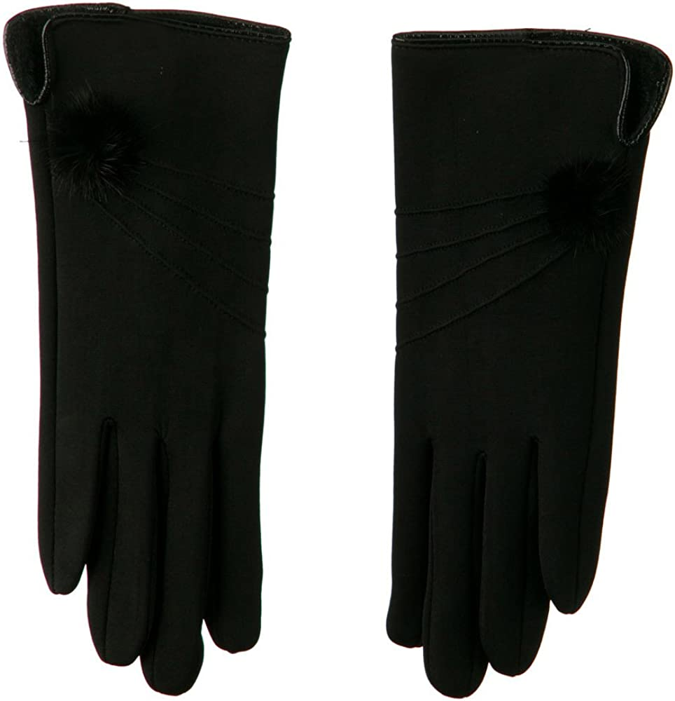 Woman's Faux Fur Lined Pompom Accent Glove - Black W17S44A