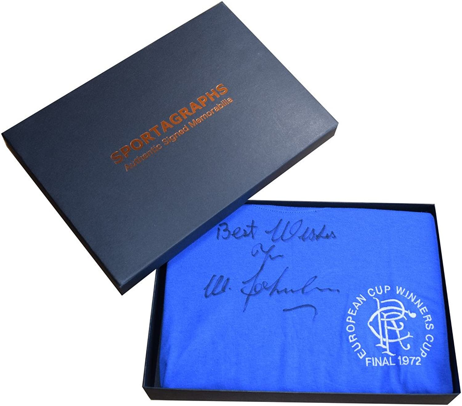 Sportagraphs Willie Johnston SIGNED Rangers New Shirt Autograph Gift Box Football AFTAL COA PERFECT GIFT
