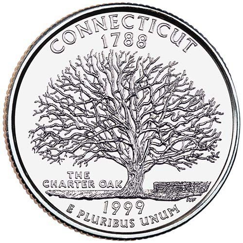 1999 S Clad Proof Connecticut State Quarter Choice Uncirculated US Mint