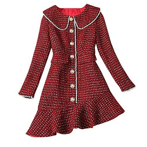 QUNLIANYI Knop Asymmetrie Jurk Herfst Winter Vrouwen Zoete Kraag Rood Plaid Tweed Jurk