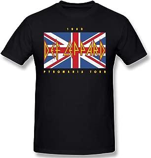 Def Leppard Union Jack 1983 Pyromania Tour Mens T Shirt Short Sleeve Tee Tops