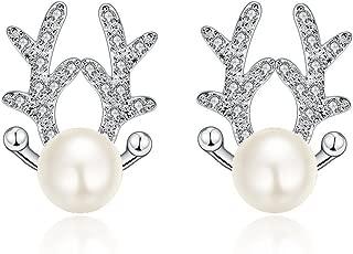 Buycitky Cute Reindeer Pearl Stud Earrings for Women Girl Earrings Set Plated Sterling Silver Cubic Zirconia Post Earrings