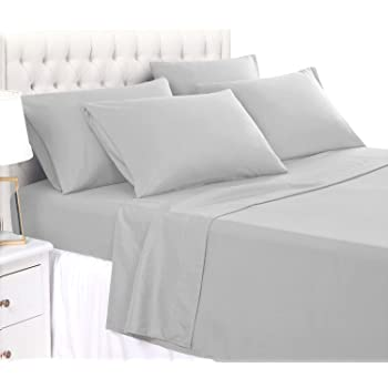 BASIC CHOICE 6 Piece Sheet Set - Soft 2000 Series Wrinkle & Fade Resistant Bed Sheets - King, Light Gray