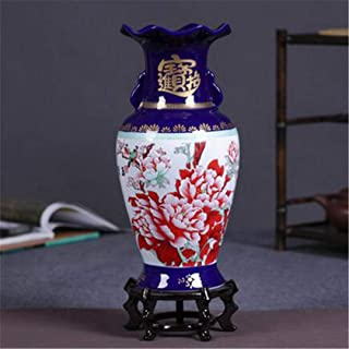Ceramics Modern Chinese Peony Yellow Vase Flower Home Living Room Decoration Crafts Ornaments style1