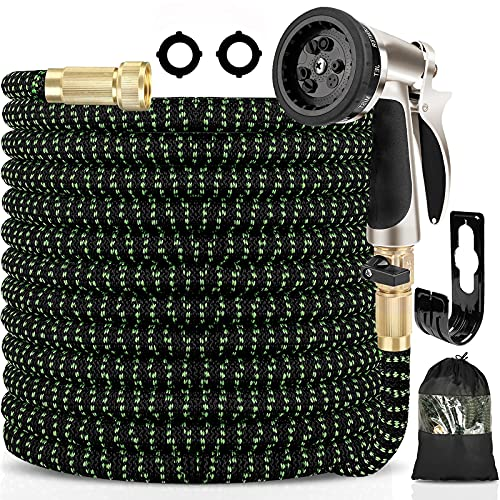 """Haliluya Expandable Garden Hose 100ft , Flexible Water Hose with Zinc Alloy 9 Function Spray Nozzle & 4 Layers Latex Inner, No Kink Lightweight Gardening Hose with 3/4"""" Solid Brass Fittings"""