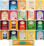 Twinings Herbal & Decaf Tea Sampler 40 Ct Assortment with By The Cup Honeysticks