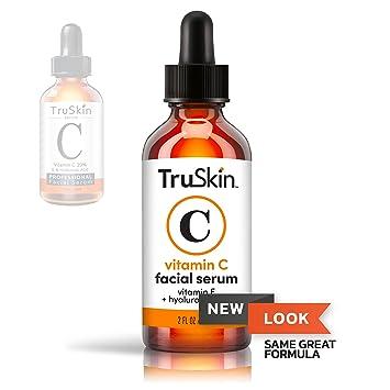 TruSkin Vitamin C Serum for Face, Anti Aging Serum with Hyaluronic Acid, Vitamin E, Organic Aloe Vera and Jojoba Oil, Hydrating & Brightening Serum for Dark Spots, Fine Lines and Wrinkles, 2 fl oz