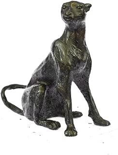 Handmade European Bronze Sculpture Cougar Panther Jaguar Cat Collector Bookend Paperweight Art Deco Bronze Statue -XN-3003B-Decor Collectible Gift