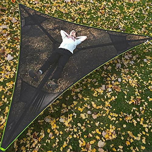 Revolutionary Giant Aerial Camping Hammock -Multi Person Hammock -Triangle Aerial Mat -Hammock Tree House Air Sky Tent -Portable Heavy Duty Hammock for Camping, Travel, Backyard, Patio, Garden (BK)