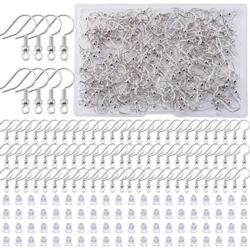 BQTQ 400 Piezas de Suministros para Hacer Pendientes, Que Incluyen 200 Ganchos para Pendientes y 200 Piezas de Respaldo Transparente para Pendientes, Kit de Ganchos para Pendientes