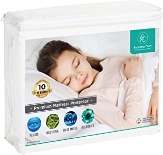 Supremo Craft Waterproof Mattress Protector Queen Size - 100% Organic Cotton Breathable Mattress Pad Cover, Deep Pocket, Vinyl Free - [60