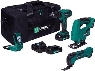 VONROC Gereedschapsset / machineset VPower 20V – gereedschapstas incl.: accuboor, decoupeerzaag, multigereedschap, werklam...