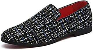LFSP Black Classic Oxford Shoes Modern Wide Flats Oxfords for Men Smoking Loafers Slip On PU Leather Rubber Sole Pointed Handemade Dress Shoe Glitter Sequins Lightweight Soft Wear-Resisting