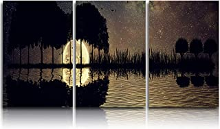 3 Piece Canvas WallArtOilPainting Starry Stars Night Moon Lake, ModernArtworkPicture Prints Trees and Birds Silhouettes ,Stretched and FramedReadytoHang forLiving Room Office Bedroom