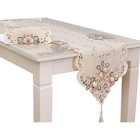 Haokaini Chemin de table blanc vintage brodé avec fleurs et pompons - Centre de table pour fête de mariage, banquet, salle à manger, décoration d'intérieur