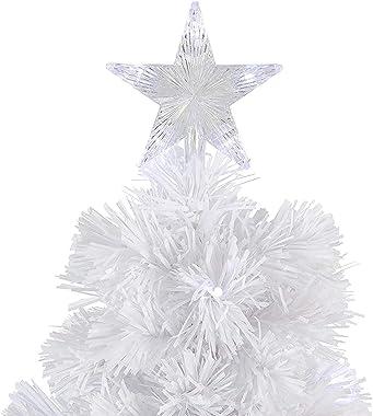 24 Pulgadas Pre-Cama Blanca De Fibra Óptica De Árboles De Navidad, Abeto De Sobremesa Árbol De Navidad con Luces Que Cambian