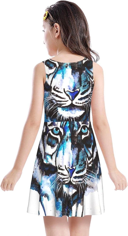 Tigres Art Drawings Dress Girl's Soft Stretch Casual Skirt Tank Dress