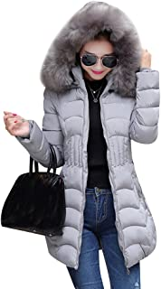 bb067aa711e4 Cappotto Imbottito Lungo Donna Piumino Cappotto Con Cappuccio Di Pelliccia  Faux Giacca