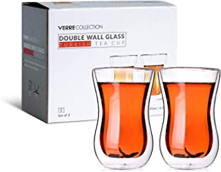 Verre Collection Original Double Wall Turkish Tea Glass Cups 4.25 Ounce Set Of 2 Insulated Thermo Glass 4.25oz Clear