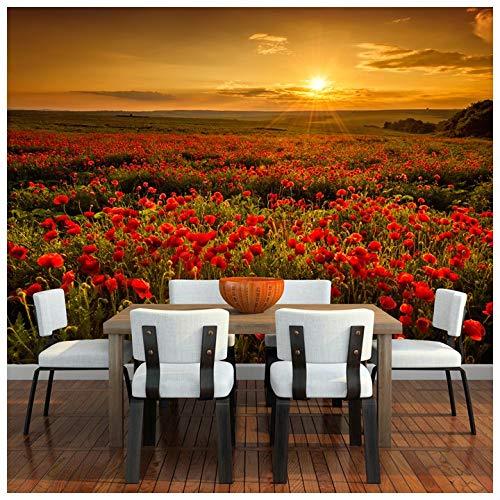 azutura Mohnblumen-Blumen-Sonnenuntergang Fototapete Red Floral Tapete Wohnzimmer Haus Dekor Erhältlich in 8 Größen Riesig Digital