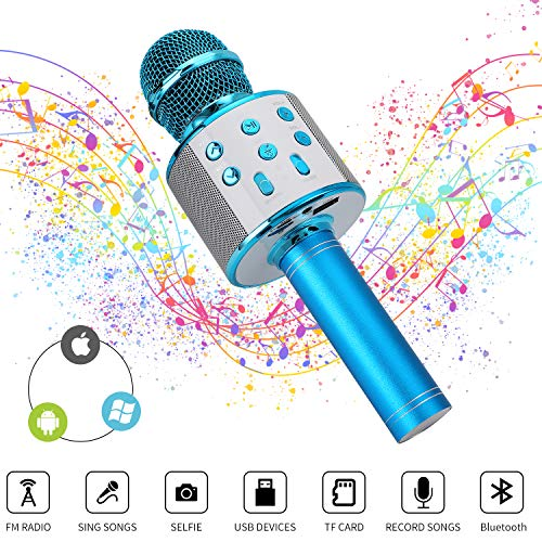 Mixhomic Wireless Bluetooth Karaoke Microphone, 4 in 1 Handheld Wireless Karaoke Machine for Kids Party, Portable Handheld Home KTV Player for Android/iOS/iPad/PC (Blue)