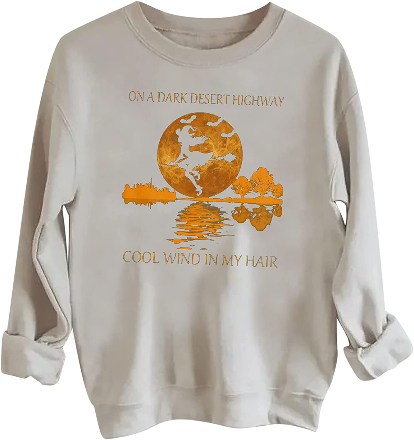 Shipping included Womens Long High material Sleeve Crewneck Sweatshirts Graphic Tops Vintage Car