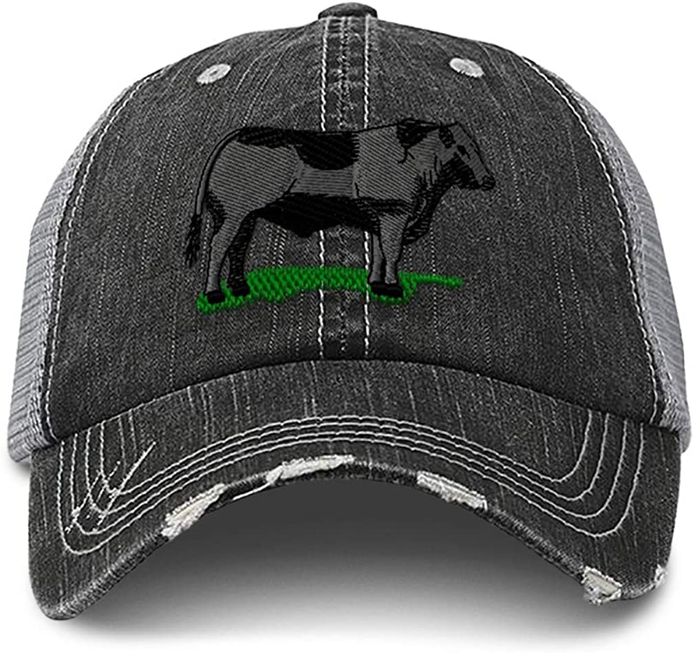 Distressed Trucker Hat Max 78% OFF Western Farm Cow Angus Animal Bull Cattle Ranking TOP3
