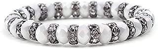 Elastic Gold Gunmetal Silver Rondelle Beads Crystal Bracelets for Women Black White Blue Mint Yellow Purple Bracelet