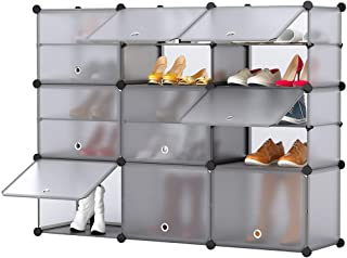 LANGRIA 15-Cube Shoe Rack DIY Organizer Units with Extra Dividers, Cubby Modular Shelving Storage Plastic Cabinet with Translucent Doors (Grey, 12 Regular+3 Tall Cubes)