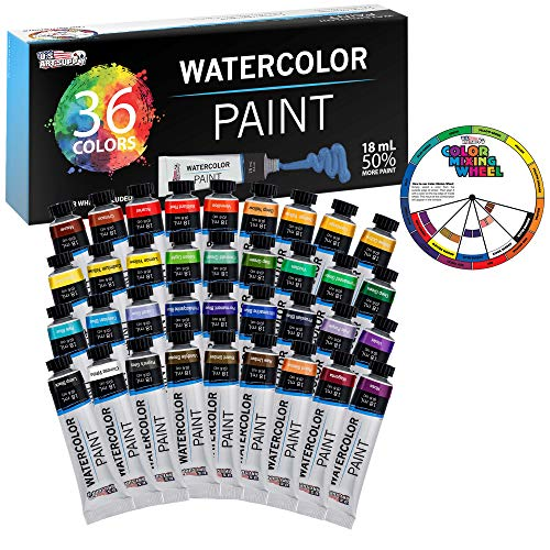 U.S. Art Supply Professional 36 Color Set of Watercolor Paint in Large 18ml Tubes - Vivid Colors Kit for Artists, Students, Beginners - Canvas Portrait Paintings - Color Mixing Wheel