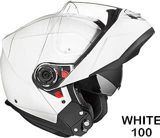 SMK Glide Flip Up Designer Helmet , UNICOLOR WHITE GL100 , Glossy White , XL - 61 Cms , Plain Visor